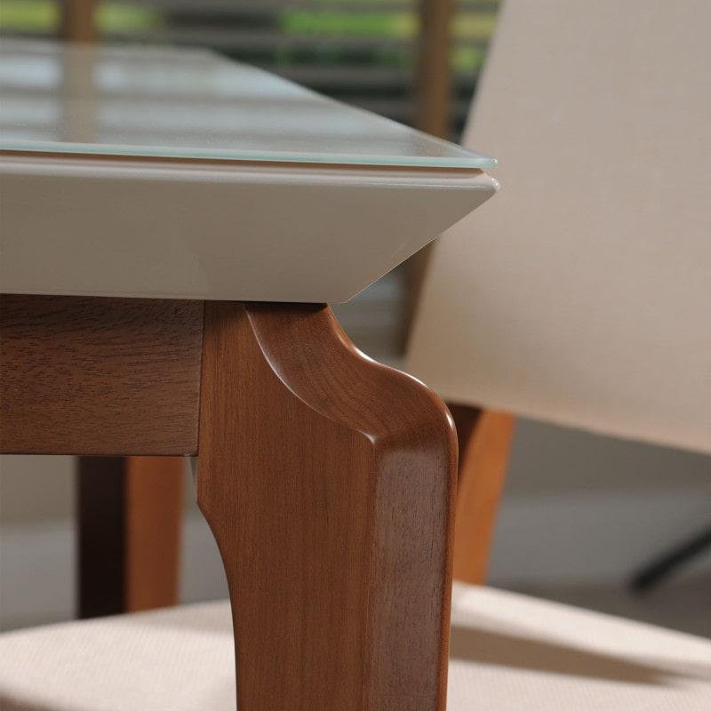 Mesa de jantar Retangular 2.10m com Vidro Off White Pés Cinamomo
