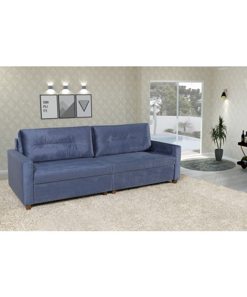 Sofá Arona Veludo Azul Fabricação Própria